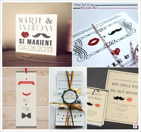 faire_part_mariage_vintage_retro_moustache_bouche_noeud_papillon
